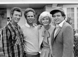 "Members of the original cast of the ""Leave It To Beaver,"" from left, Ken Osmond, Tony Dow, Barbara Billingsley and Jerry Mathers during the filming of their TV special, ""Still The Beaver,"" in Los Angeles in 1982."