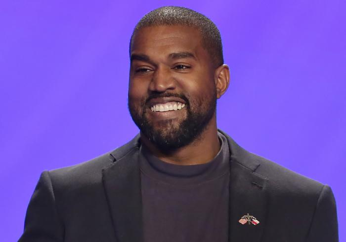 This Nov. 17, 2019, file photo shows Kanye West on stage during a service at Lakewood Church in Houston.