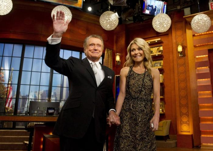 "Regis Philbin and Kelly Ripa appear on Regis' farewell episode of ""Live! with Regis and Kelly"", in New York."