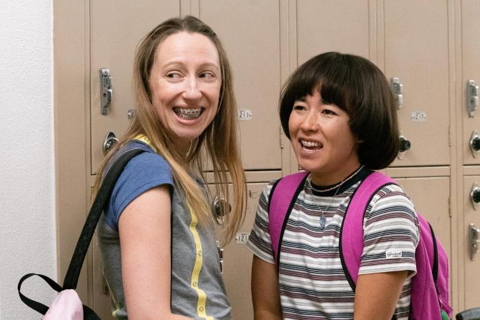 "Anna Konkle, left, and Maya Erskine, right, in a scene from ""PEN15."""