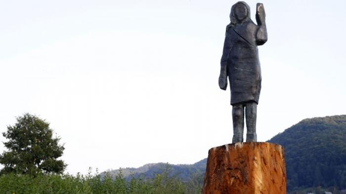 The bronze statue of Melania Trump that stands near her hometown in Slovenia.