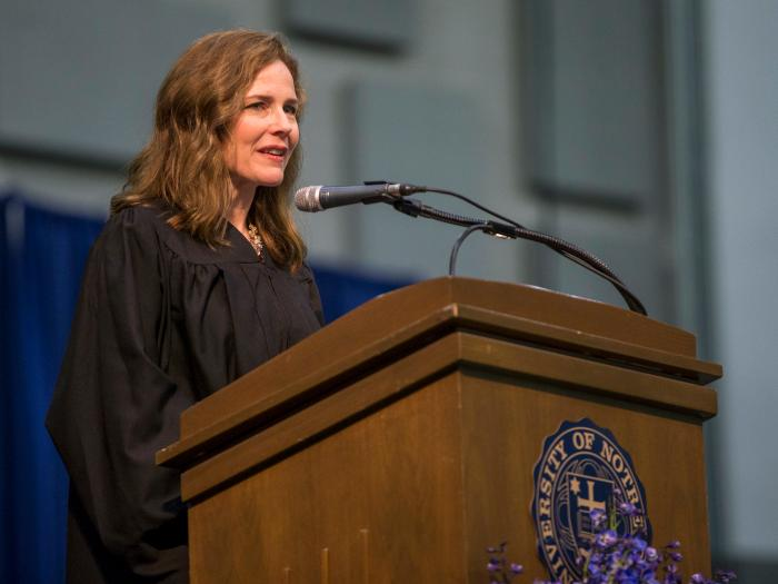 In this May 19, 2018, file photo, Amy Coney Barrett, United States Court of Appeals for the Seventh Circuit judge, speaks during the University of Notre Dame's Law School commencement ceremony at the university, in South Bend, Ind.