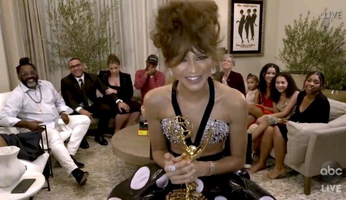 "Zendaya accepts the award for outstanding lead actress in a drama series for ""Euphoria"" during the 72nd Emmy Awards broadcast."