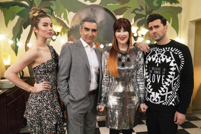 """From left, Annie Murphy, Eugene Levy, Catherine O'Hara and Dan Levy from the series """"Schitt's Creek."""""""
