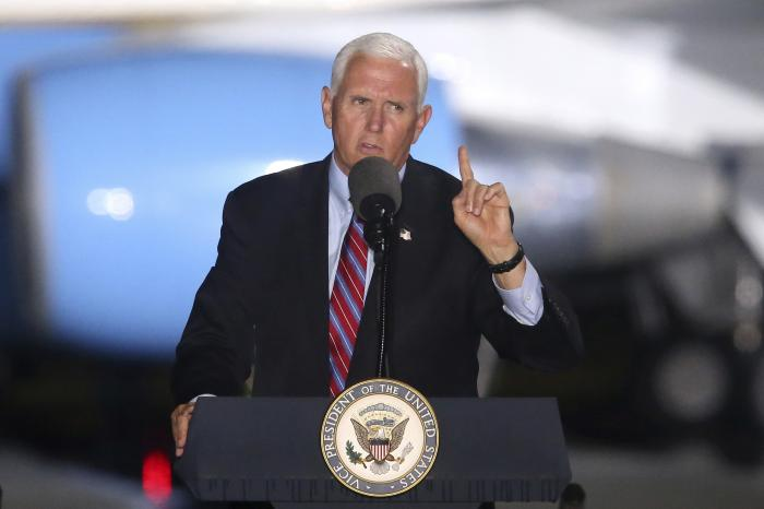Vice President Mike Pence speaks to supporters Saturday Oct. 24, 2020 in Tallahassee, Fla.