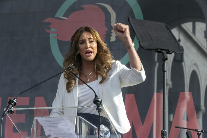 aitlyn Jenner speaks at the 4th Women's March in Los Angeles.