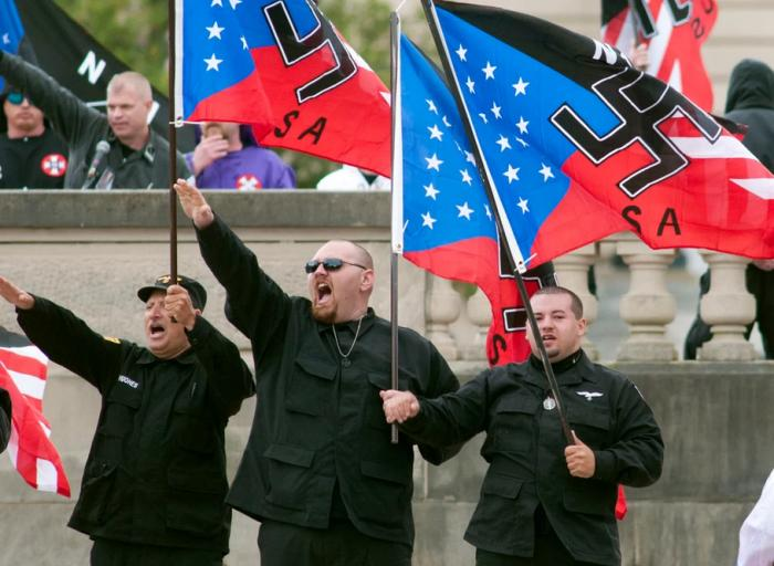 This AP image shows neo-Nazis at a rally.