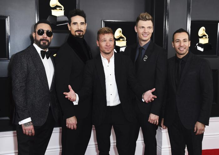 AJ McLean, from left, Kevin Richardson, Brian Littrell, Nick Carter, and Howie Dorough of The Backstreet Boys appear at the 61st annual Grammy Awards in Los Angeles