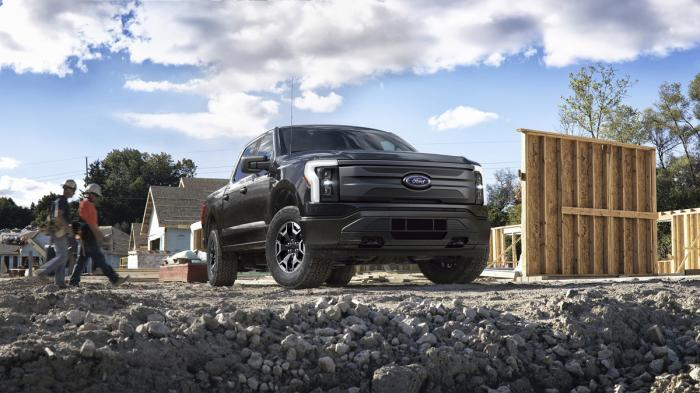 This photo provided by Ford Motor Co., shows the upcoming 2022 Ford F-150 Lightning, that is part of a new generation of emerging electric vehicles