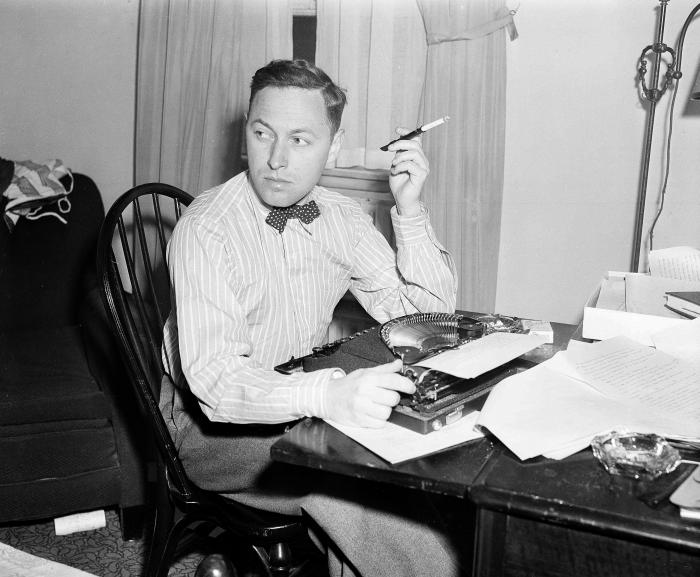 This Nov. 11, 1940 file photo shows playwright Tennessee Williams at his typewriter in New York.